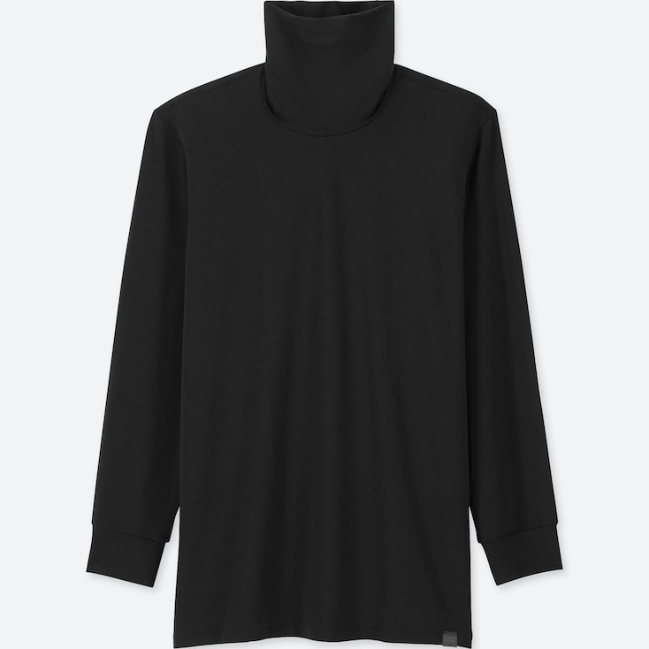 Men Heattech Extra Warm Turtleneck Long-Sleeve T-Shirt, Black, Large