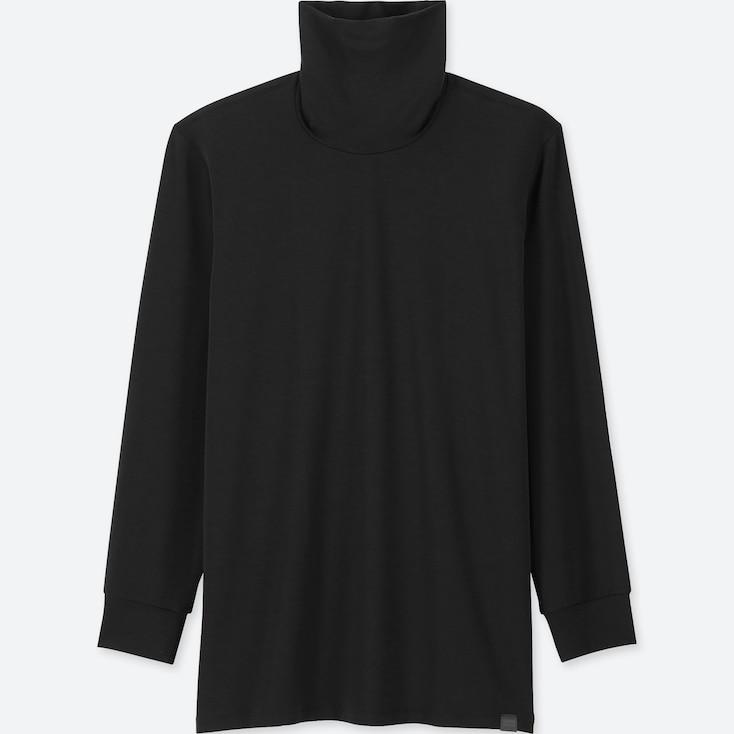 MEN HEATTECH EXTRA WARM TURTLENECK LONG-SLEEVE T-SHIRT, BLACK, large