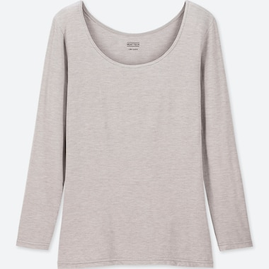 WOMEN HEATTECH SCOOP NECK LONG-SLEEVE T-SHIRT, GRAY, medium