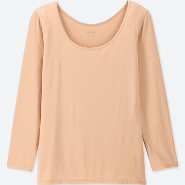 WOMEN HEATTECH SCOOP NECK LONG-SLEEVE T-SHIRT, BEIGE, medium