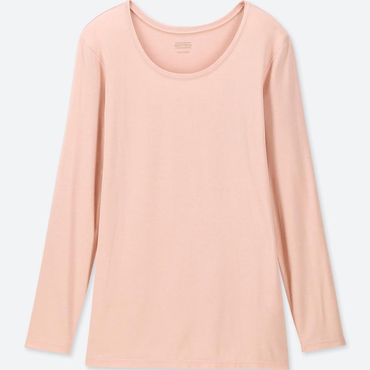 Women Heattech Crew Neck Long-Sleeve T-Shirt, Pink, Large