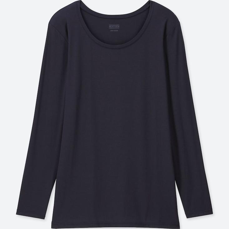 Women Heattech Crew Neck Long-Sleeve T-Shirt, Navy, Large