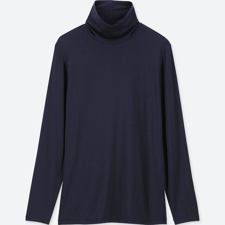 Women Heattech Turtleneck Long-Sleeve T-Shirt, Navy, Large