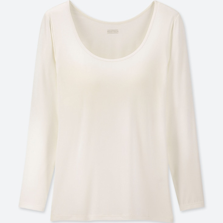 WOMEN HEATTECH BRA SCOOP NECK T-SHIRT, OFF WHITE, large