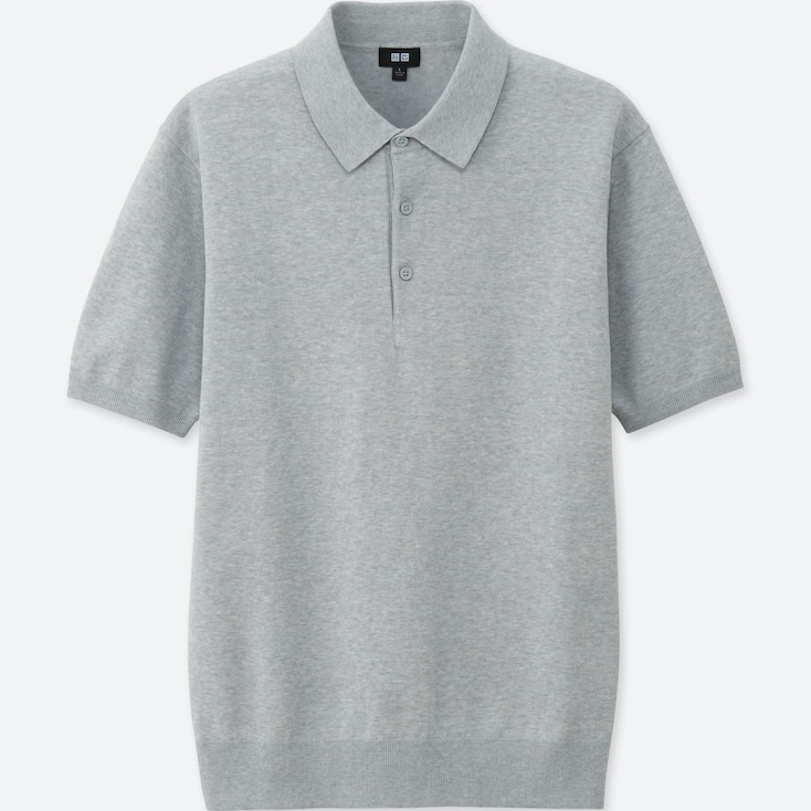 Men Washable Knitted Short-Sleeve Polo Shirt, Gray, Large