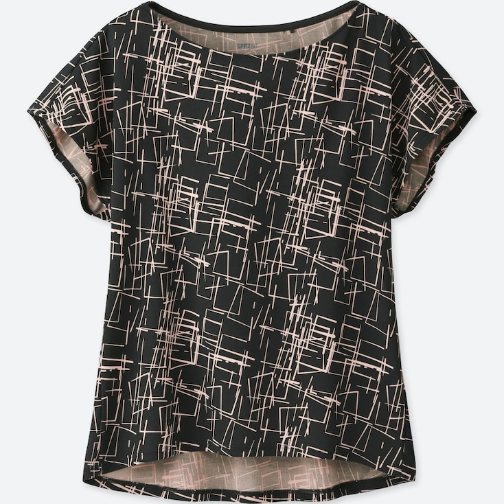 WOMEN SPRZ NY DRY-EX PRINTED SHORT-SLEEVE T-SHIRT (NIKO LUOMA), DARK GRAY, large