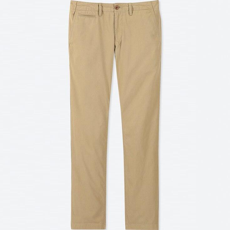 MEN VINTAGE REGULAR-FIT CHINO FLAT-FRONT PANTS, BEIGE, large