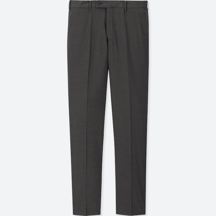 MEN WOOL STRAIGHT FIT STRETCH SUIT TROUSERS (L34)