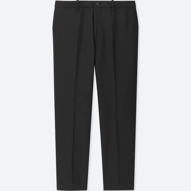 MEN EZY ANKLE-LENGTH PANTS (WOOL-LIKE), BLACK, large