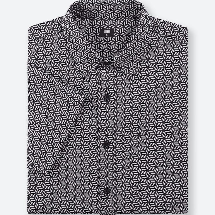 Men Broadcloth Printed Short-Sleeve Shirt, Dark Gray, Large