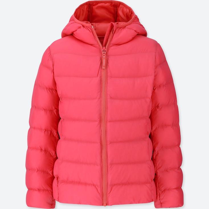 Girls Light Warm Padded Parka, Red, Large