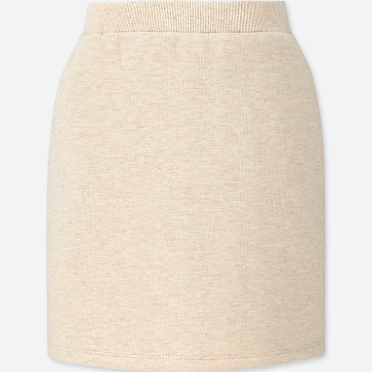 GIRLS PILE-LINED SWEAT SKIRT, BEIGE, large