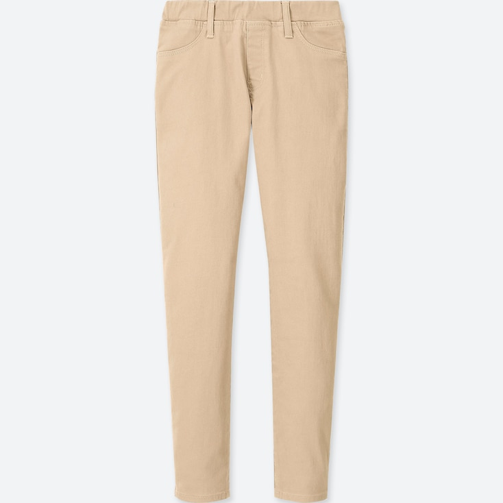Girls Ultra Stretch Skinny Fit Pants, Natural, Large