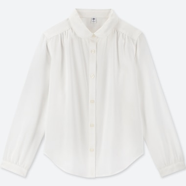 GIRLS RAYON LONG-SLEEVE BLOUSE, WHITE, medium
