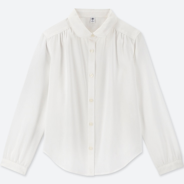 GIRLS RAYON LONG-SLEEVE BLOUSE, WHITE, large