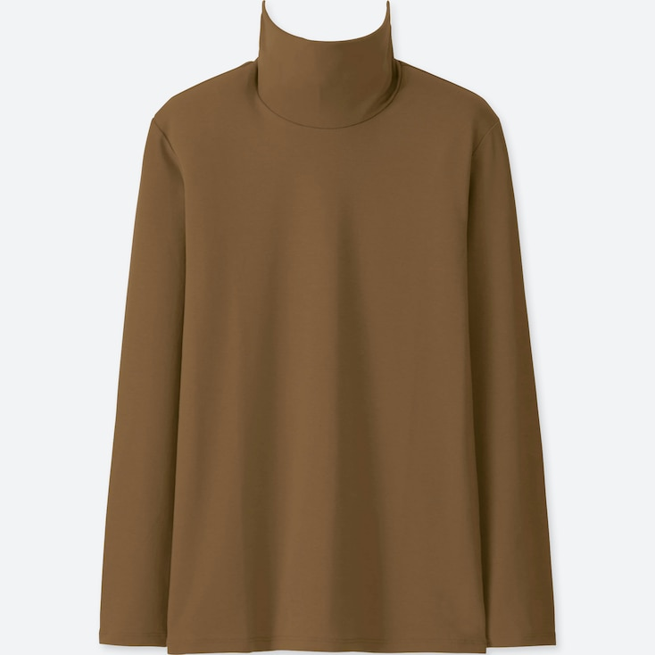 WOMEN COMPACT COTTON TURTLENECK LONG-SLEEVE T-SHIRT, BROWN, large
