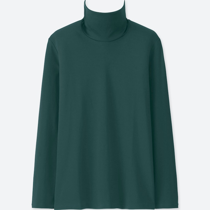 WOMEN COMPACT COTTON TURTLENECK LONG-SLEEVE T-SHIRT, DARK GREEN, large