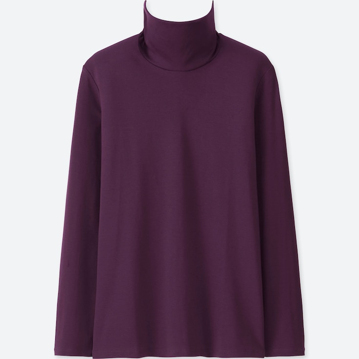 WOMEN COMPACT COTTON TURTLENECK LONG-SLEEVE T-SHIRT, PURPLE, large