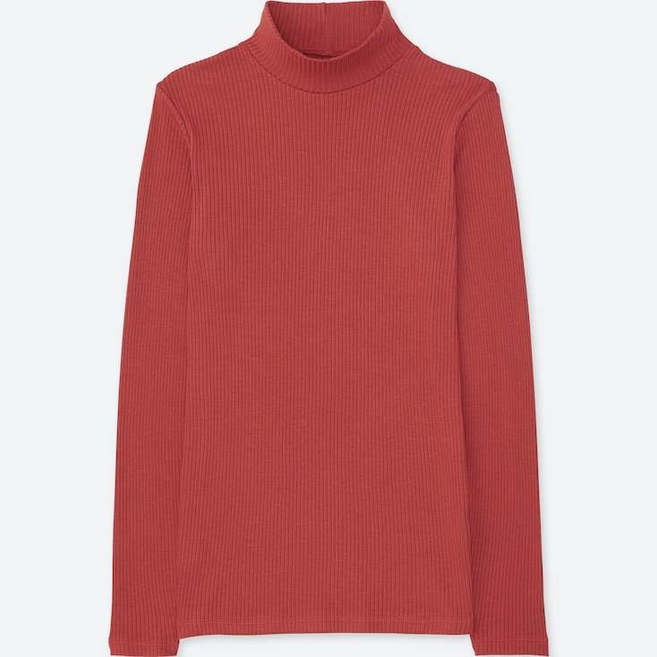 Women Ribbed High-Neck Long-Sleeve T-Shirt, Red, Large