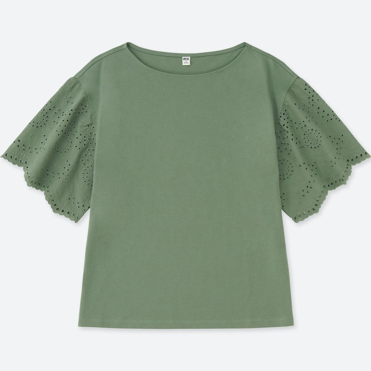 Women Lace Half-Sleeve T-Shirt, Olive, Large