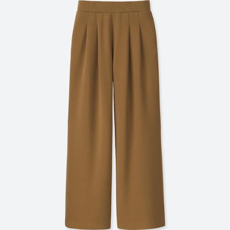 Women Ponte Tuck Wide Pants, Brown, Large