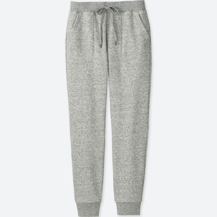 Women Pile-Lined Sweatpants, Gray, Large