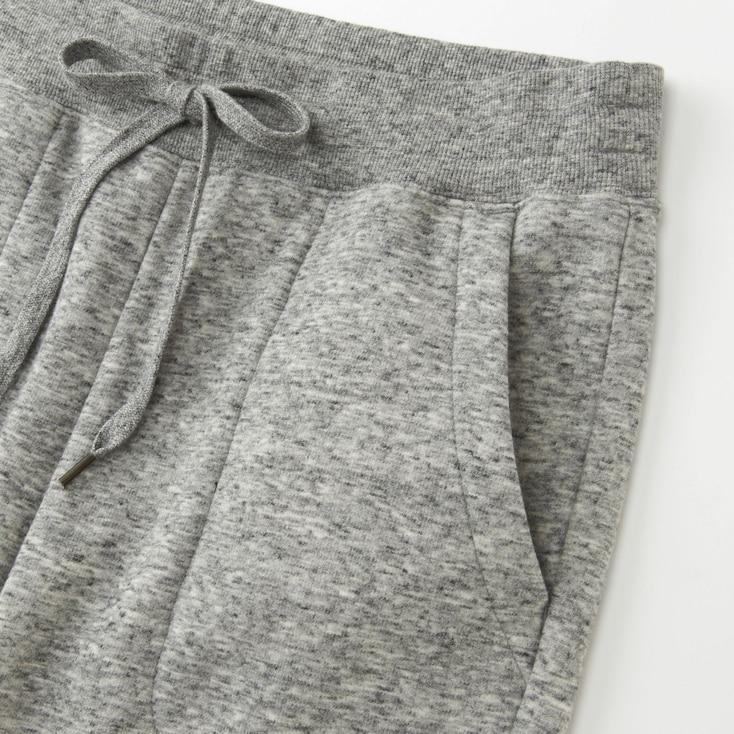 Women Pile-Lined Sweatpants, Gray, Large