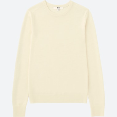 WOMEN EXTRA FINE MERINO CREW NECK SWEATER, OFF WHITE, medium
