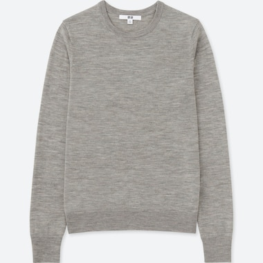 Women Extra Fine Merino Crew Neck Sweater, Gray, Medium