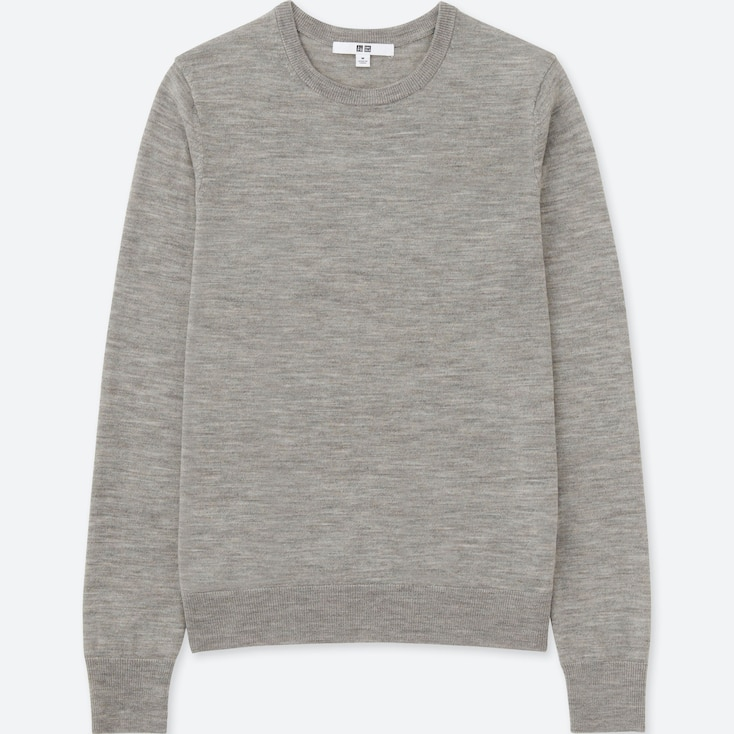 WOMEN EXTRA FINE MERINO CREW NECK SWEATER, GRAY, large