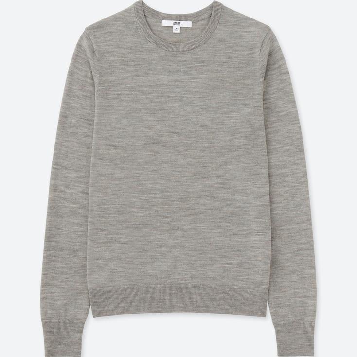 Women Extra Fine Merino Crew Neck Sweater, Dark Gray, Large