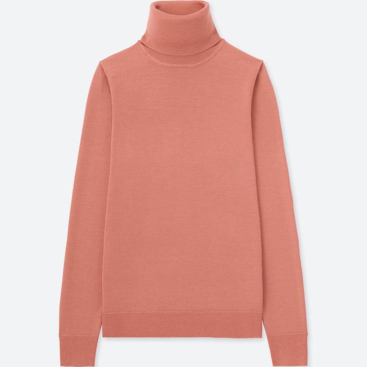 Women Extra Fine Merino Turtleneck Sweater, Pink, Large