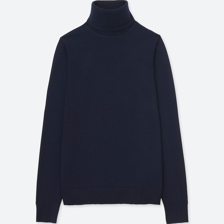 WOMEN EXTRA FINE MERINO TURTLENECK SWEATER, NAVY, large