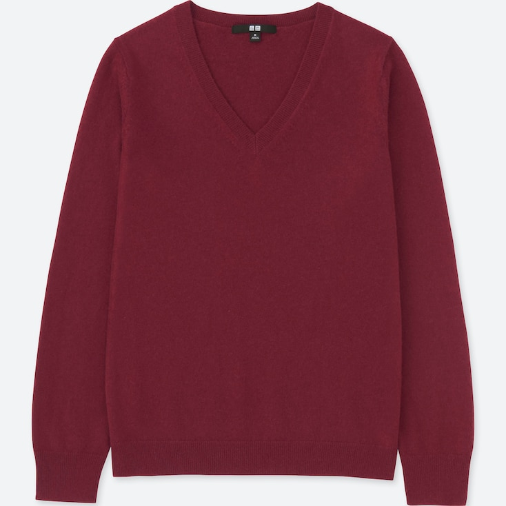WOMEN CASHMERE V-NECK SWEATER, WINE, large