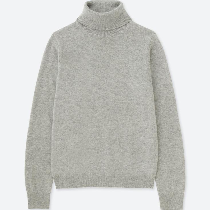 Women Cashmere Turtleneck Sweater, Light Gray, Large