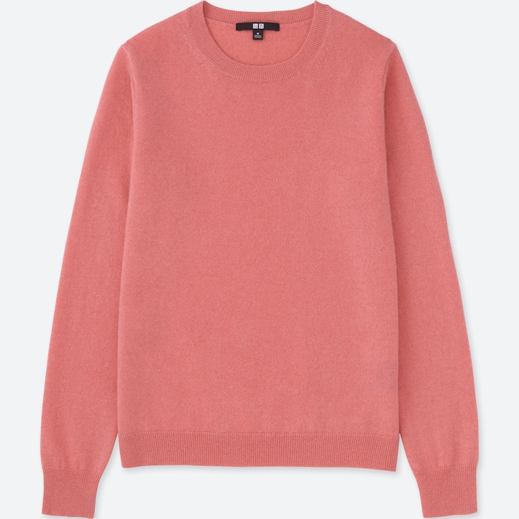 WOMEN CASHMERE CREW NECK SWEATER, PINK, large