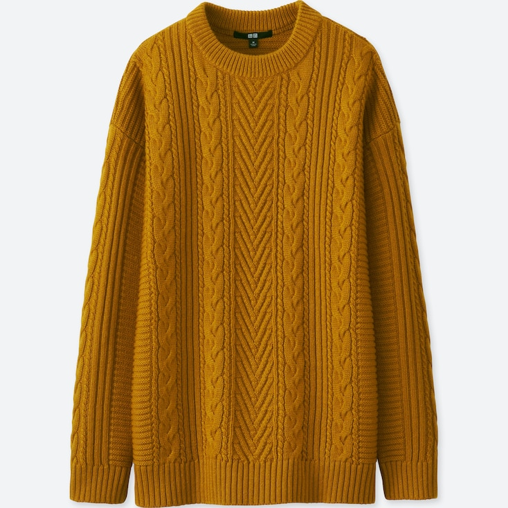 WOMEN CABLE LONG SWEATER, YELLOW, large