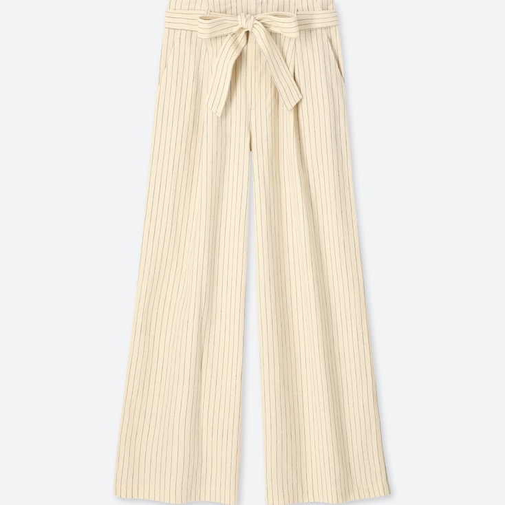 WOMEN BELTED LINEN COTTON WIDE PANTS, OFF WHITE, large