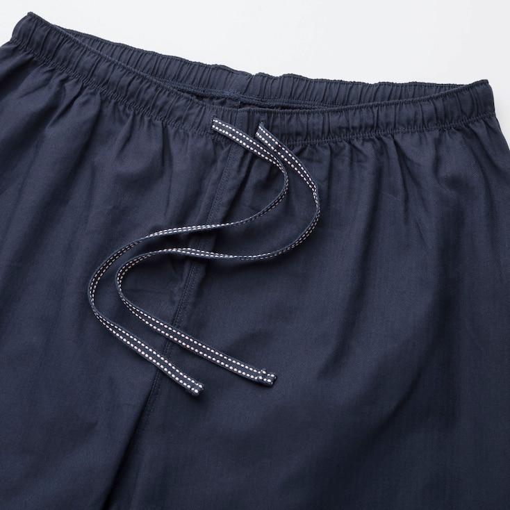Women Cotton Long-Sleeve Pajamas, Navy, Large
