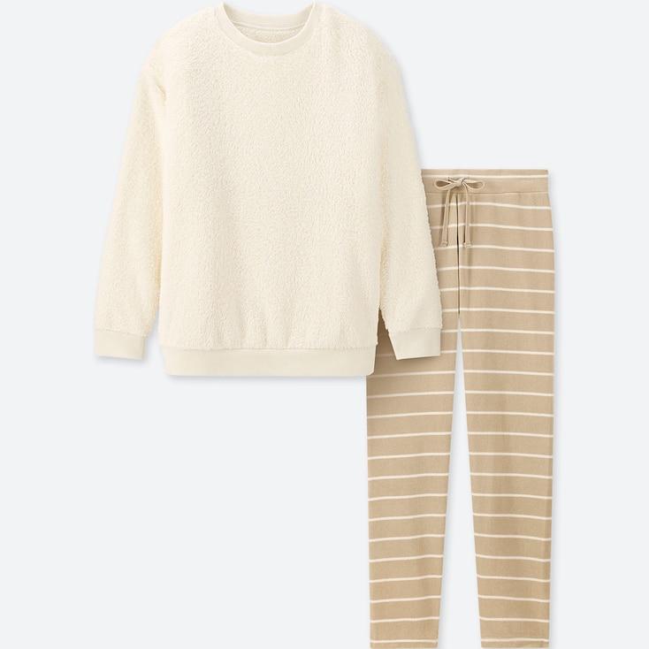 Women Long-Sleeve Striped Fleece Set, Off White, Large