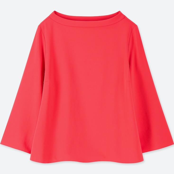 Women Drape 3/4 Sleeve T-Shirt Blouse, Pink, Large