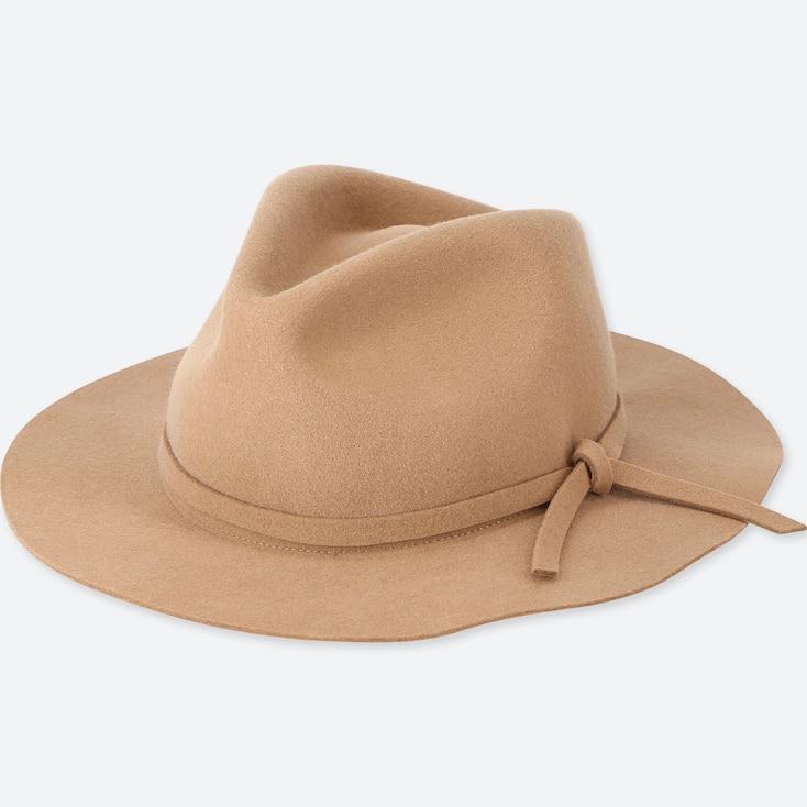 Women Wool Wide Brim Hat, Brown, Large