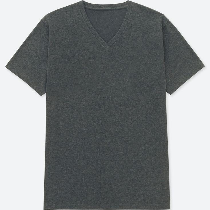 Men Packaged Dry V-Neck Short-Sleeve T-Shirt, Dark Gray, Large