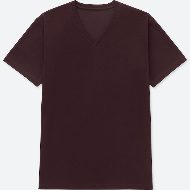 MEN PACKAGED DRY V-NECK SHORT-SLEEVE T-SHIRT, WINE, large
