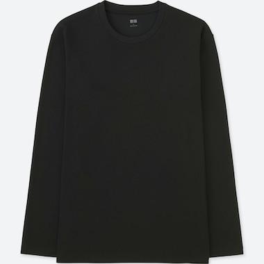 MEN SOFT TOUCH CREW NECK LONG-SLEEVE T-SHIRT, BLACK, medium