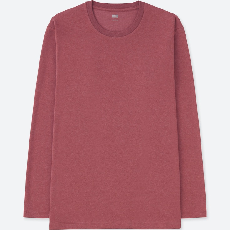 MEN SOFT TOUCH CREW NECK LONG-SLEEVE T-SHIRT, PINK, large