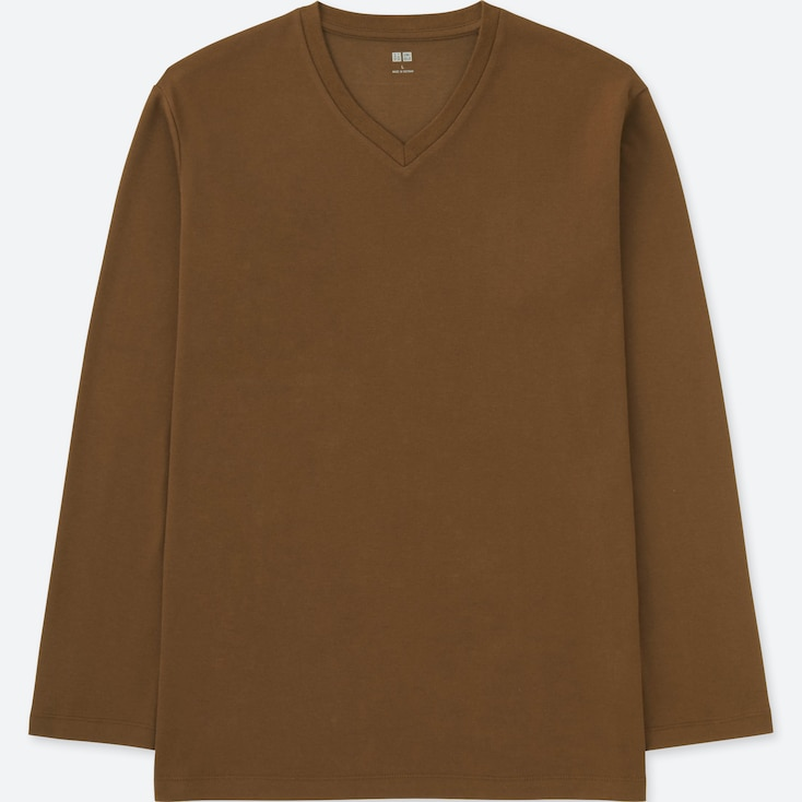 MEN SOFT TOUCH V-NECK LONG-SLEEVE T-SHIRT, BROWN, large