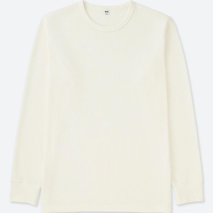 MEN WAFFLE CREW NECK LONG-SLEEVE T-SHIRT, WHITE, large