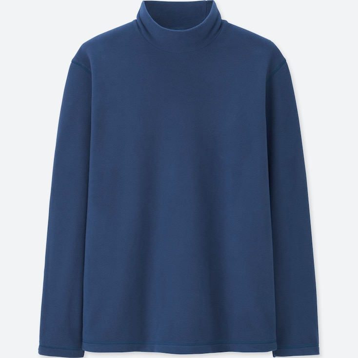 MEN HEATTECH STRETCH FLEECE MOCK NECK LONG-SLEEVE T-SHIRT, BLUE, large