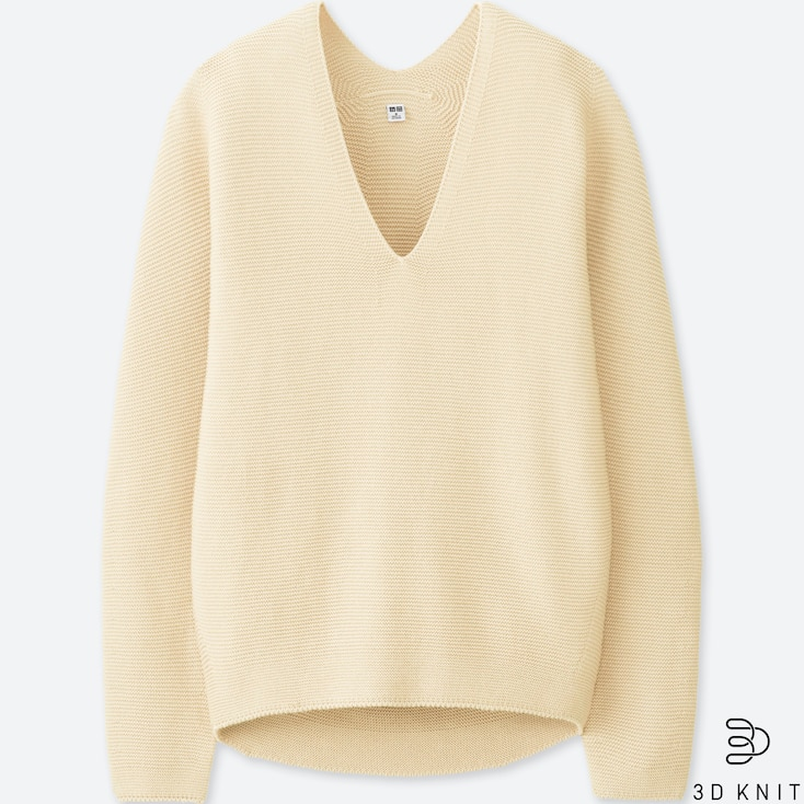 WOMEN 3D COTTON COCOON SWEATER, OFF WHITE, large
